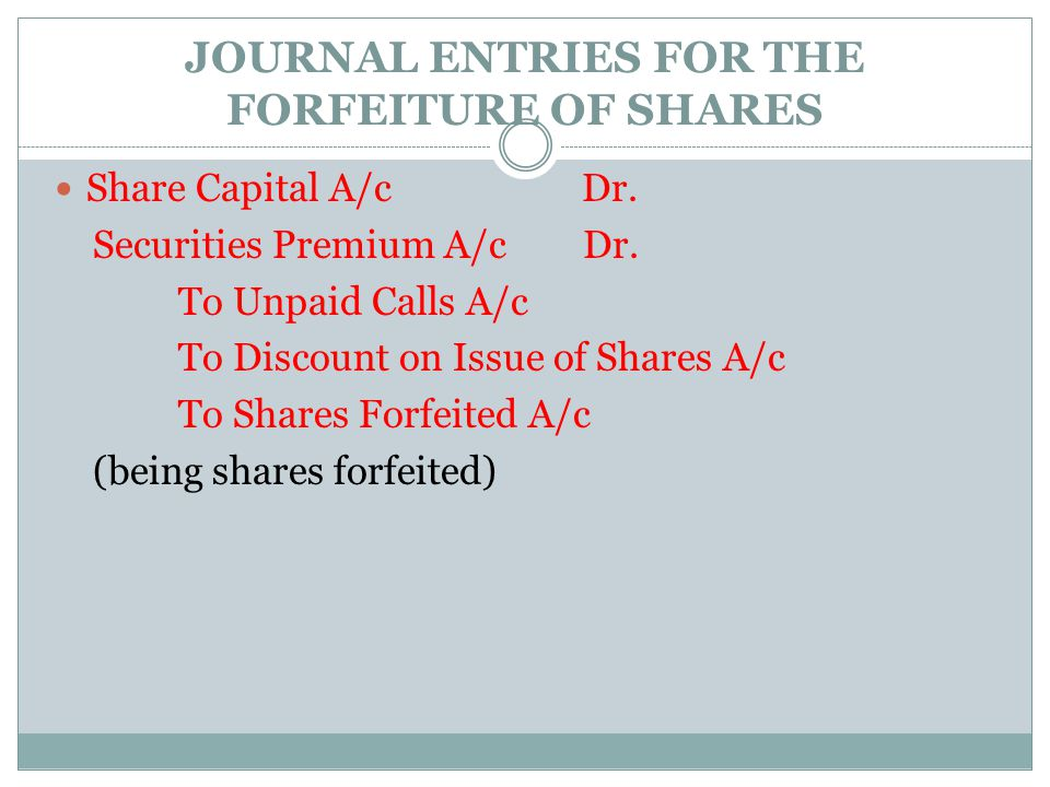 JOURNAL ENTRIES FOR THE FORFEITURE OF SHARES