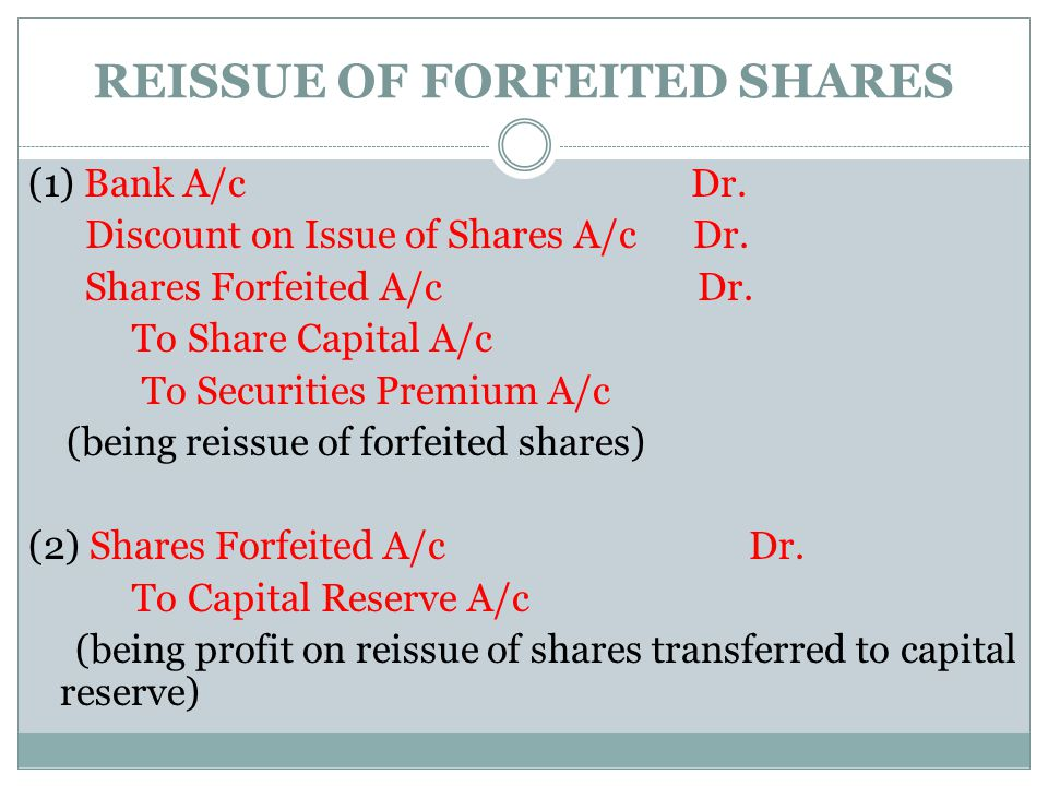 REISSUE OF FORFEITED SHARES
