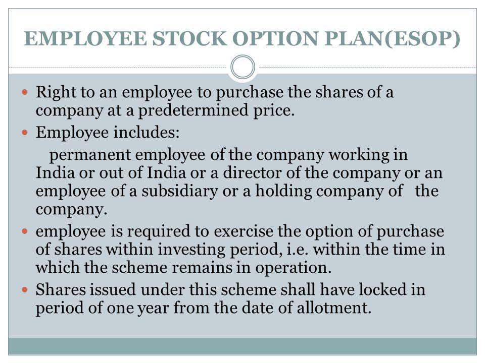 EMPLOYEE STOCK OPTION PLAN(ESOP)