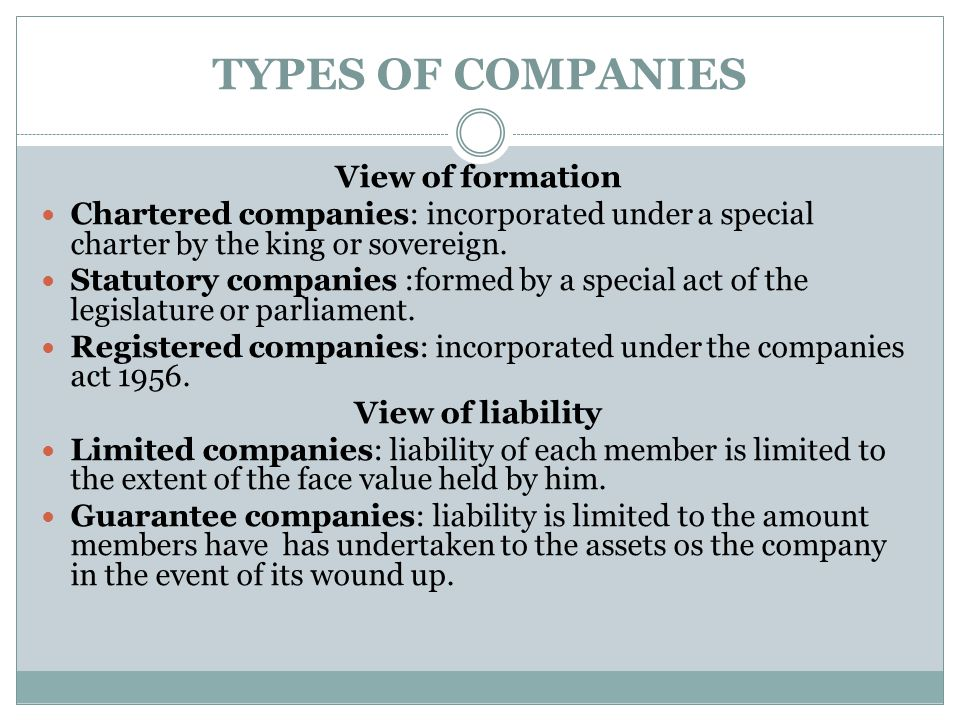 TYPES OF COMPANIES View of formation