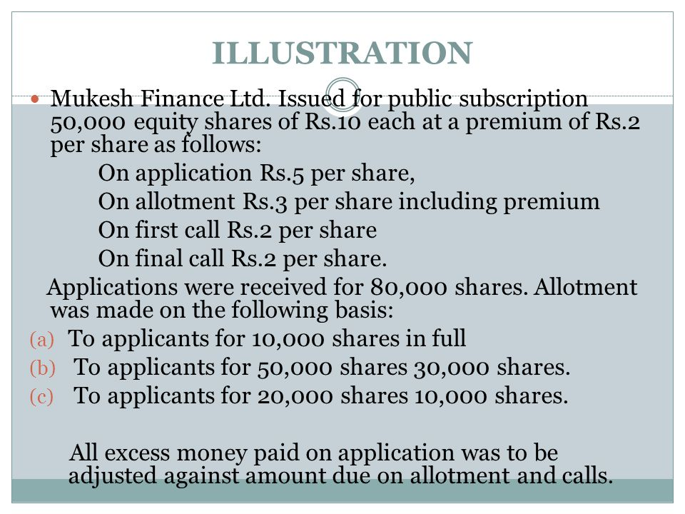 ILLUSTRATION Mukesh Finance Ltd. Issued for public subscription 50,000 equity shares of Rs.10 each at a premium of Rs.2 per share as follows: