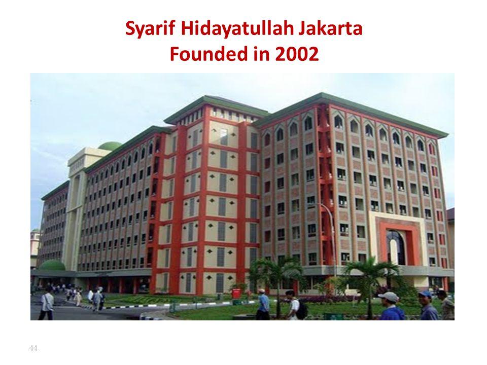 Syarif Hidayatullah Jakarta Founded in 2002