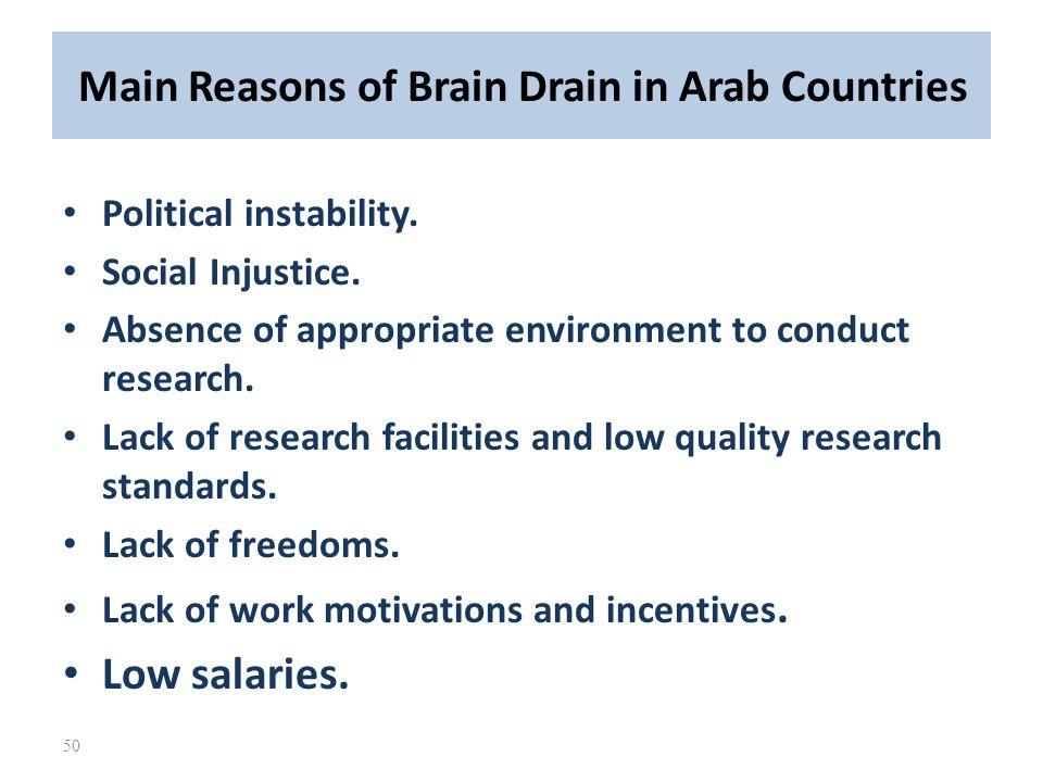 Main Reasons of Brain Drain in Arab Countries