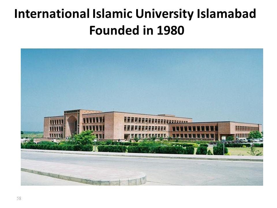 International Islamic University Islamabad Founded in 1980
