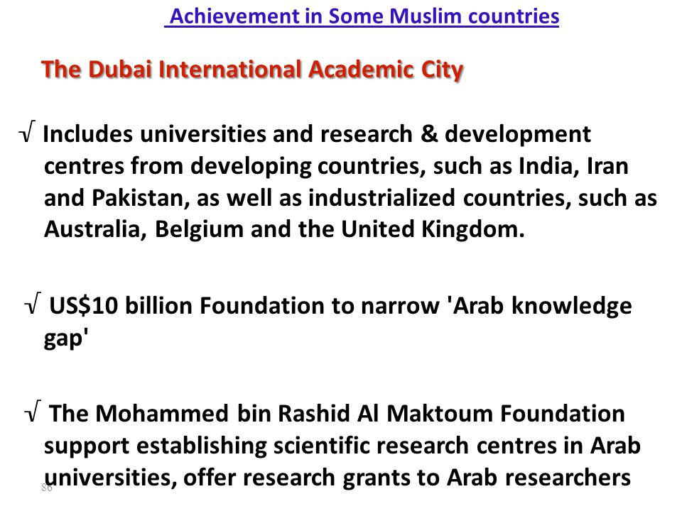 Achievement in Some Muslim countries