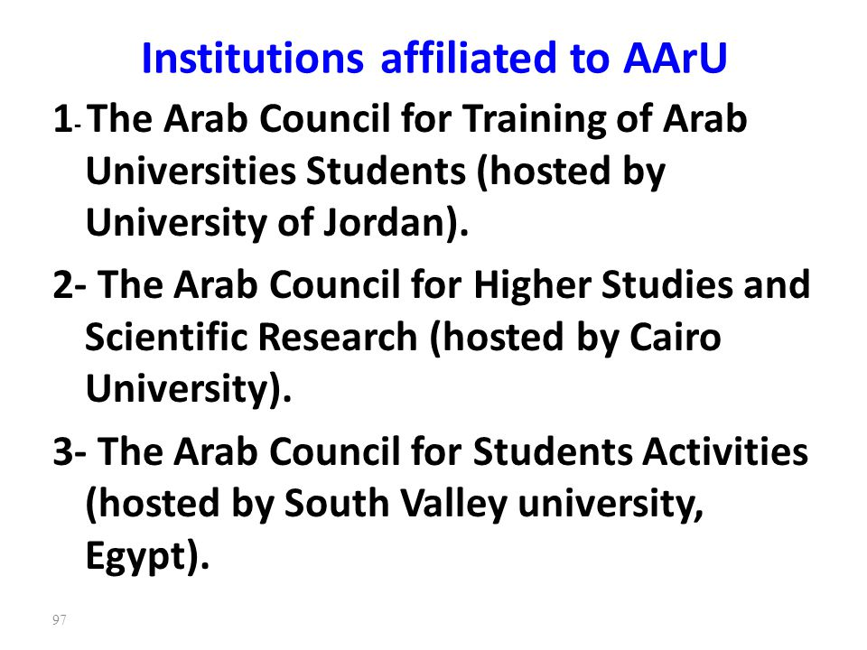 Institutions affiliated to AArU