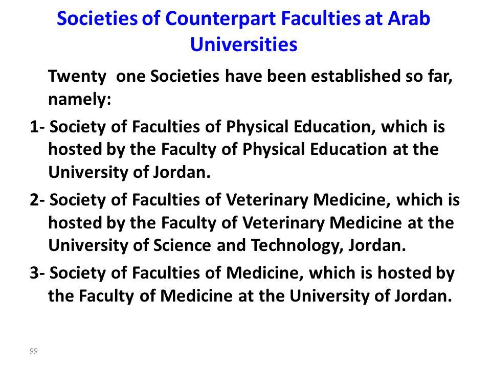 Societies of Counterpart Faculties at Arab Universities