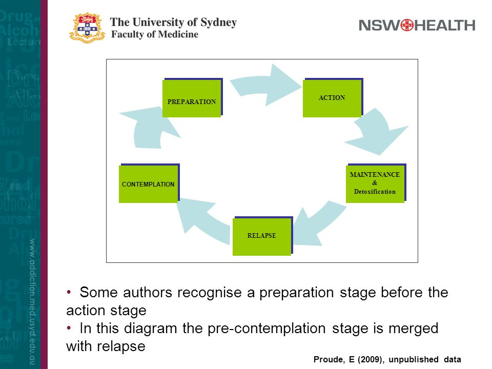 Some authors recognise a preparation stage before the action stage