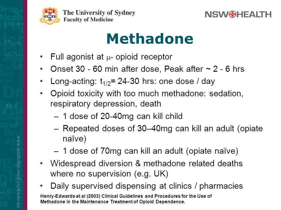 Methadone Full agonist at - opioid receptor