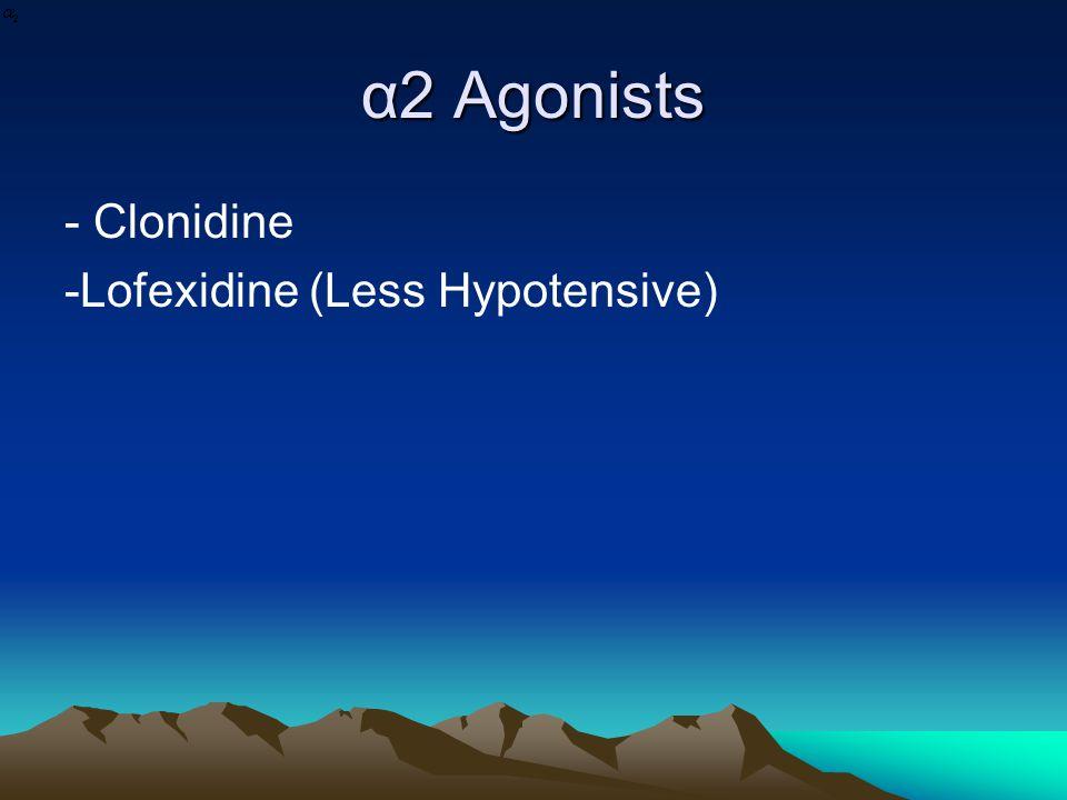 α2 Agonists - Clonidine -Lofexidine (Less Hypotensive)