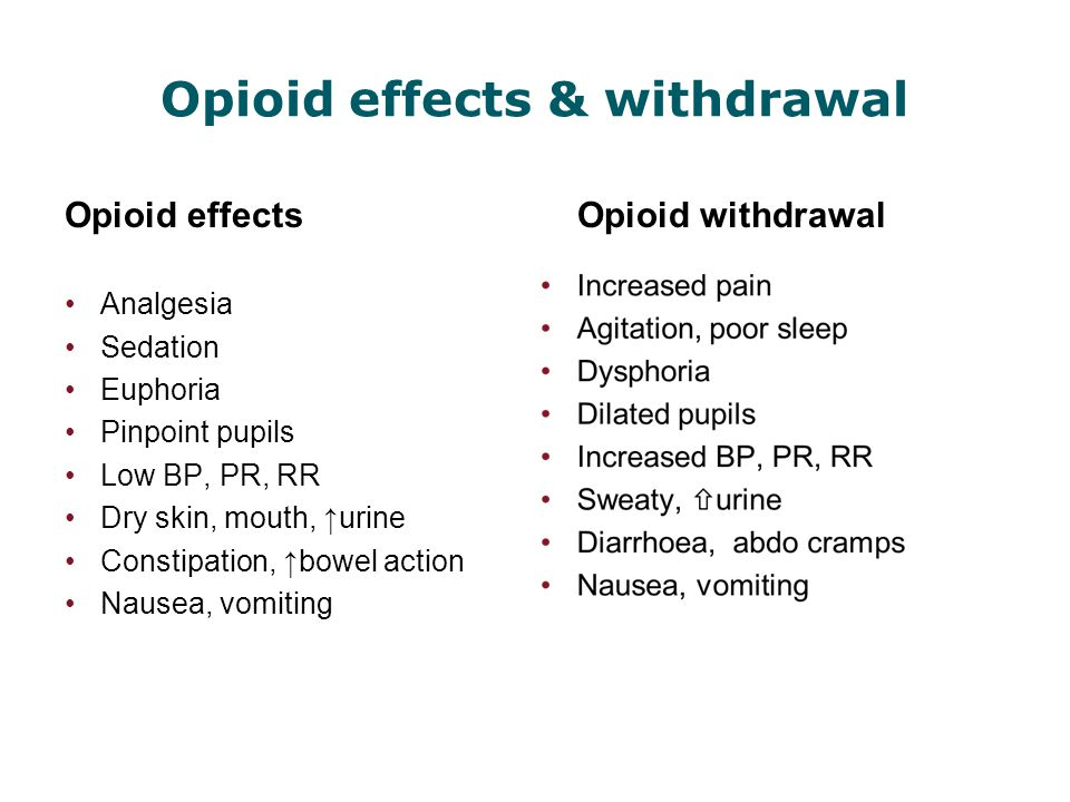 Opioid effects & withdrawal