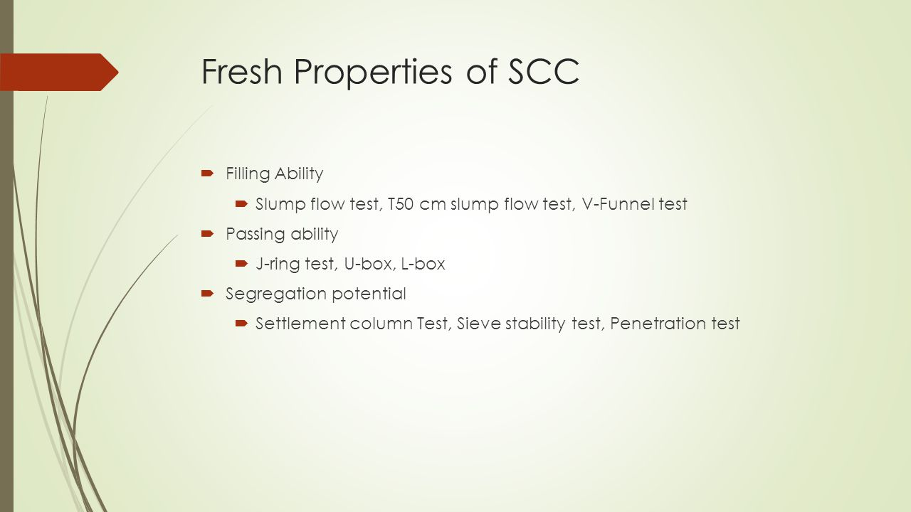 Fresh Properties of SCC