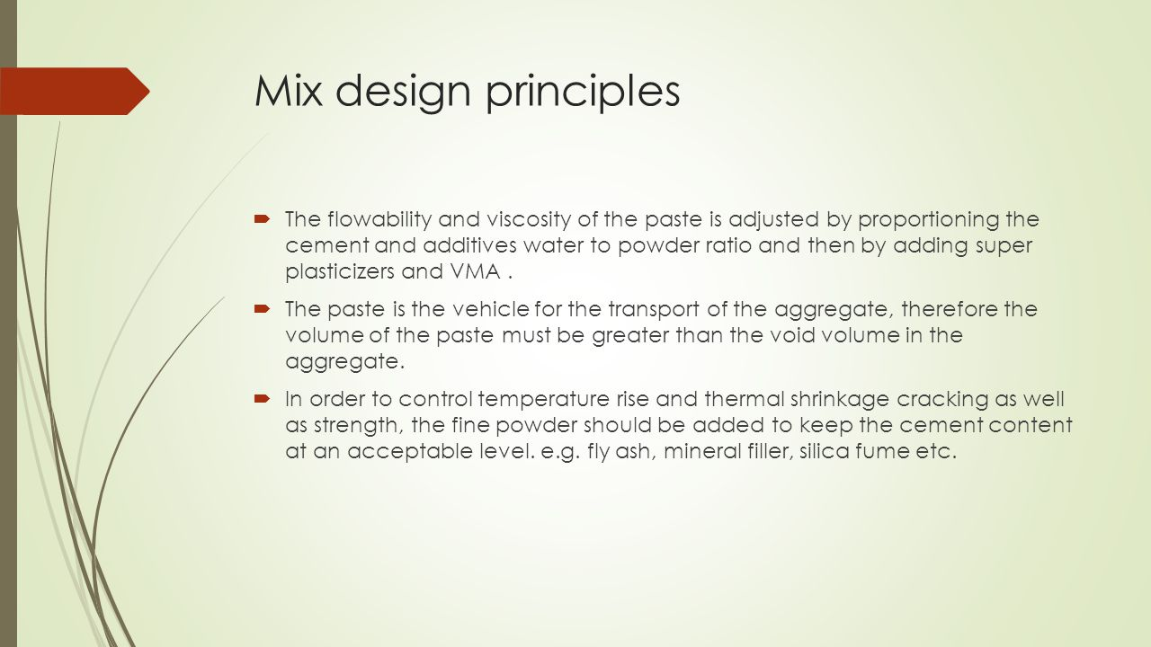 Mix design principles