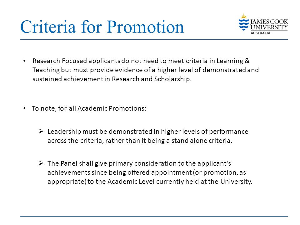 Criteria for Promotion