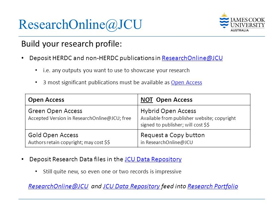 ResearchOnline@JCU Build your research profile: