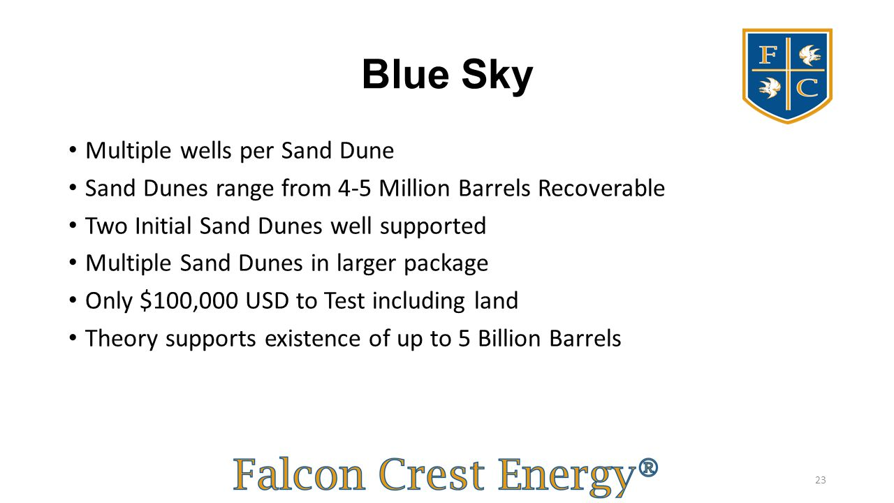 Blue Sky Multiple wells per Sand Dune