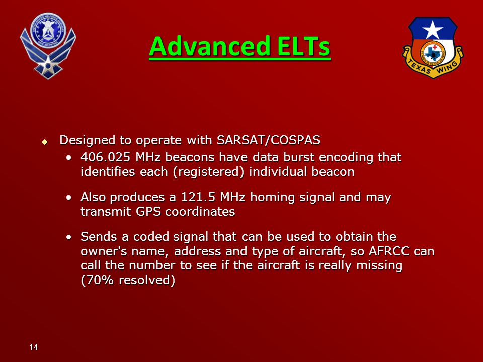 Advanced ELTs Designed to operate with SARSAT/COSPAS