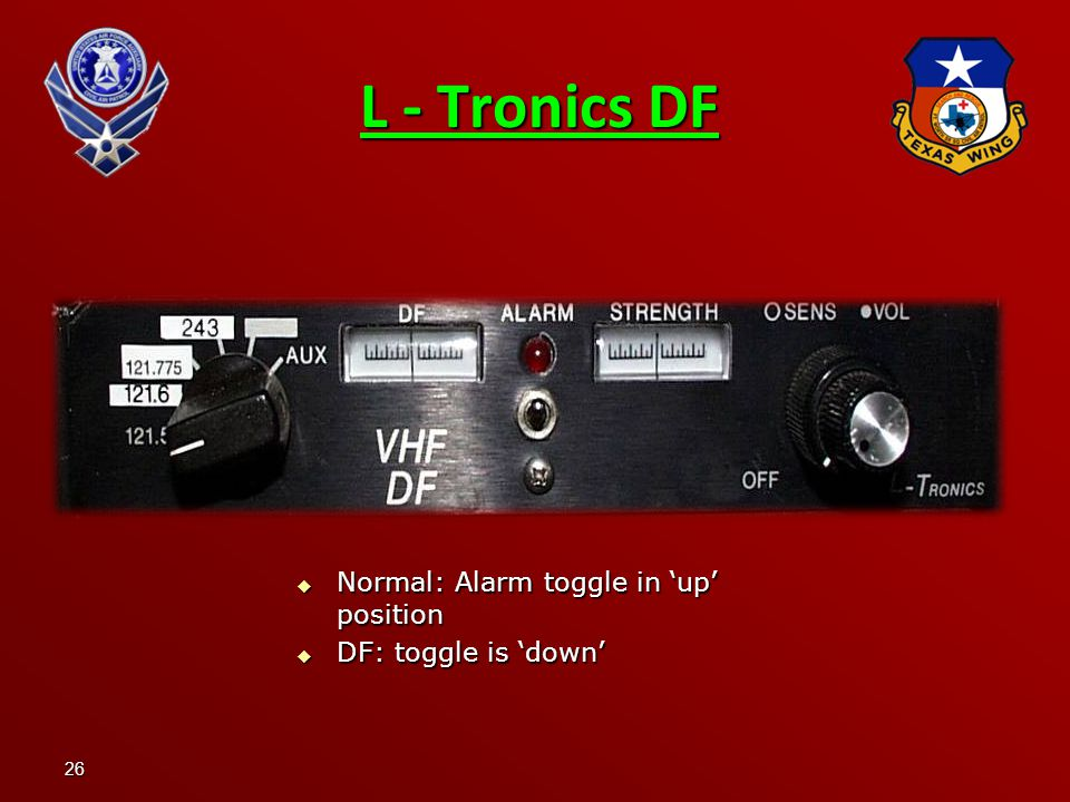 L - Tronics DF Normal: Alarm toggle in 'up' position