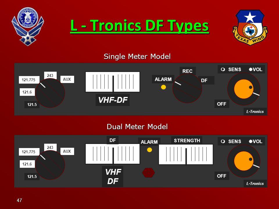 L - Tronics DF Types VHF-DF VHF DF Single Meter Model Dual Meter Model