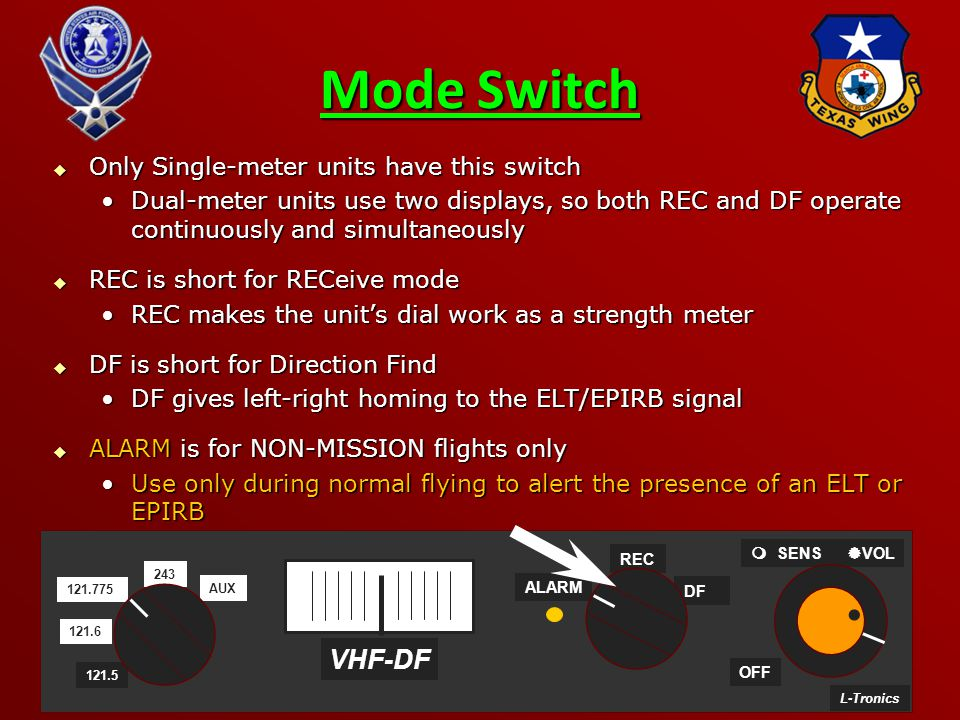 Mode Switch VHF-DF Only Single-meter units have this switch