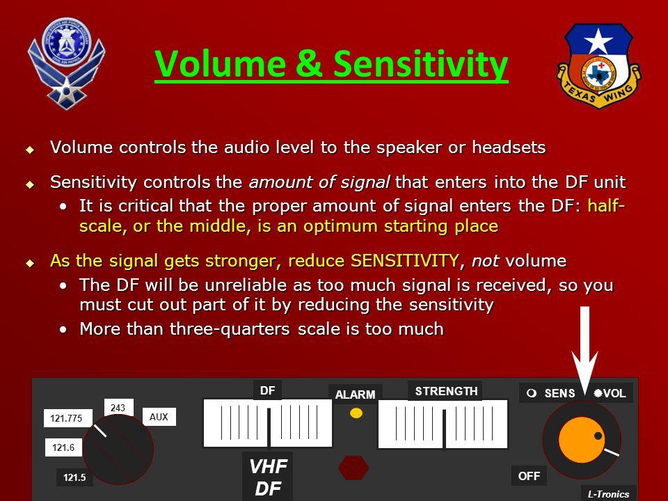 Volume & Sensitivity VHF DF