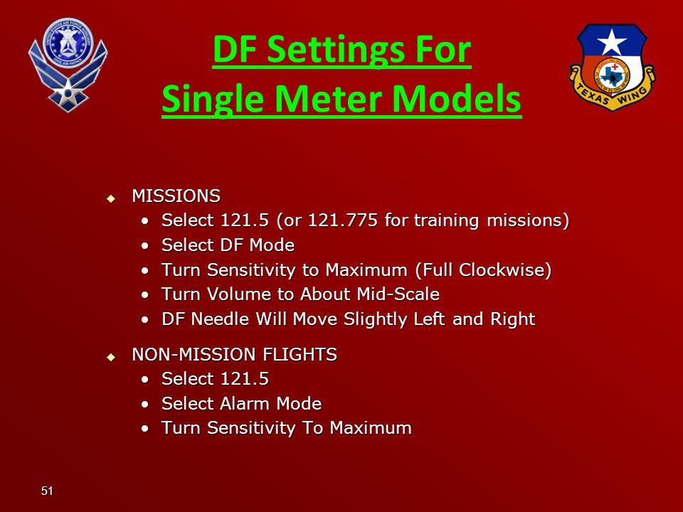 DF Settings For Single Meter Models