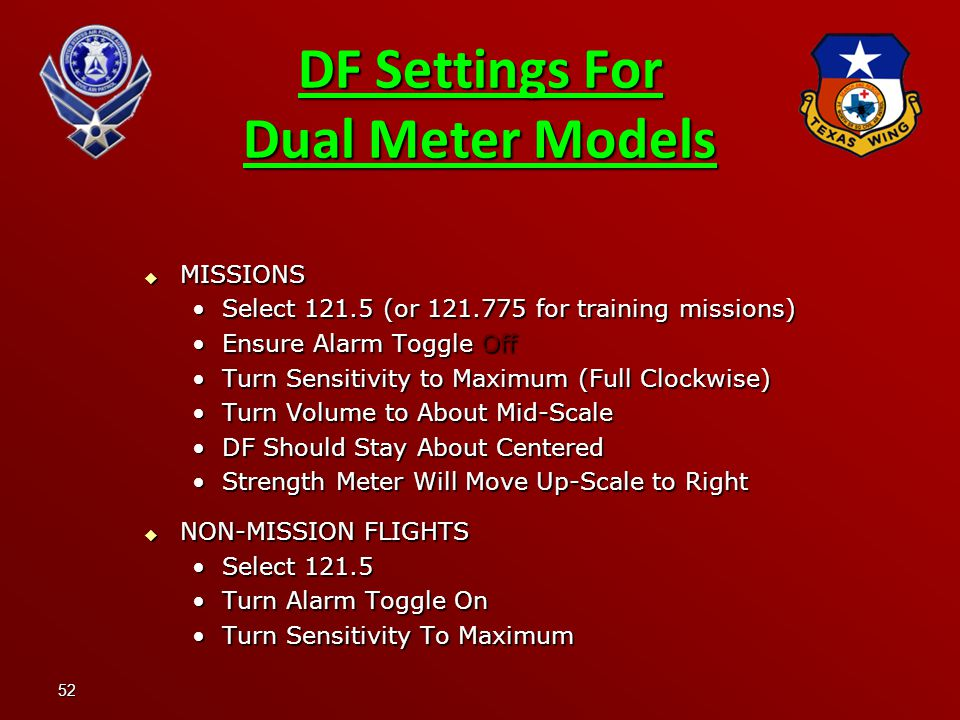 DF Settings For Dual Meter Models
