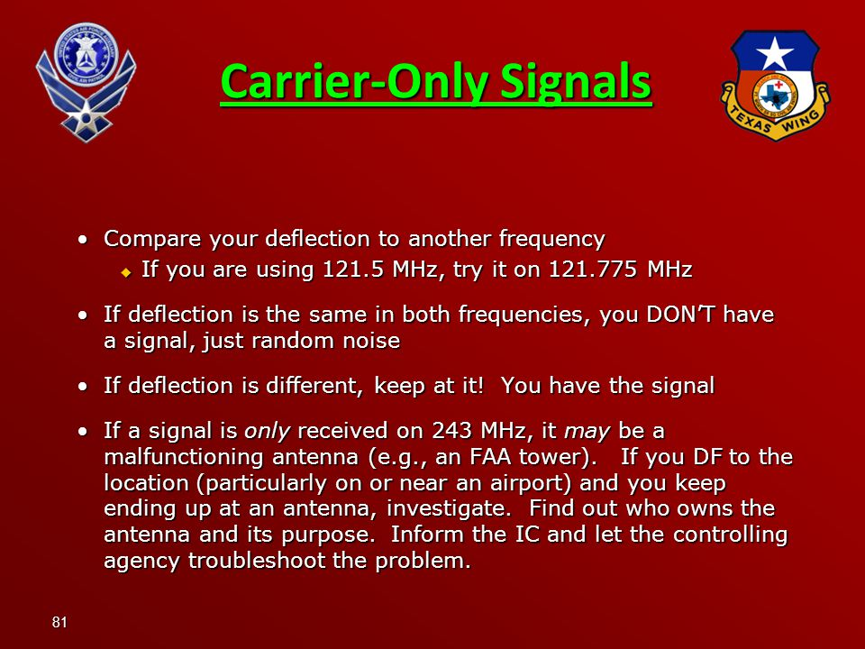 Carrier-Only Signals Compare your deflection to another frequency