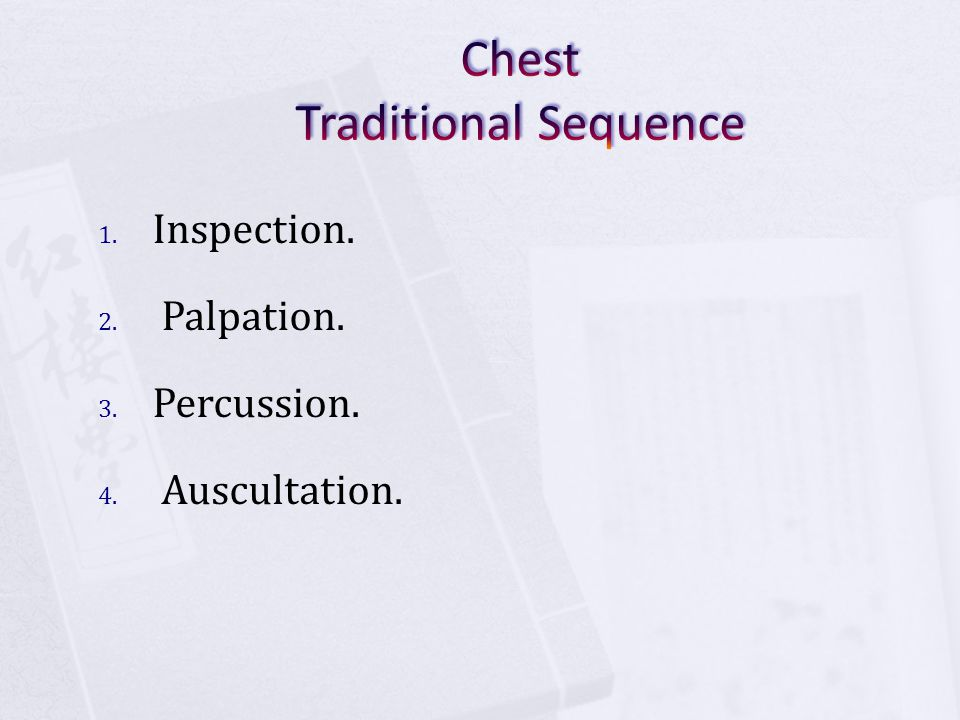 Chest Traditional Sequence