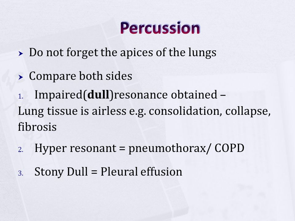 Percussion Do not forget the apices of the lungs Compare both sides