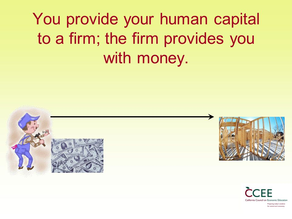 You provide your human capital to a firm; the firm provides you with money.