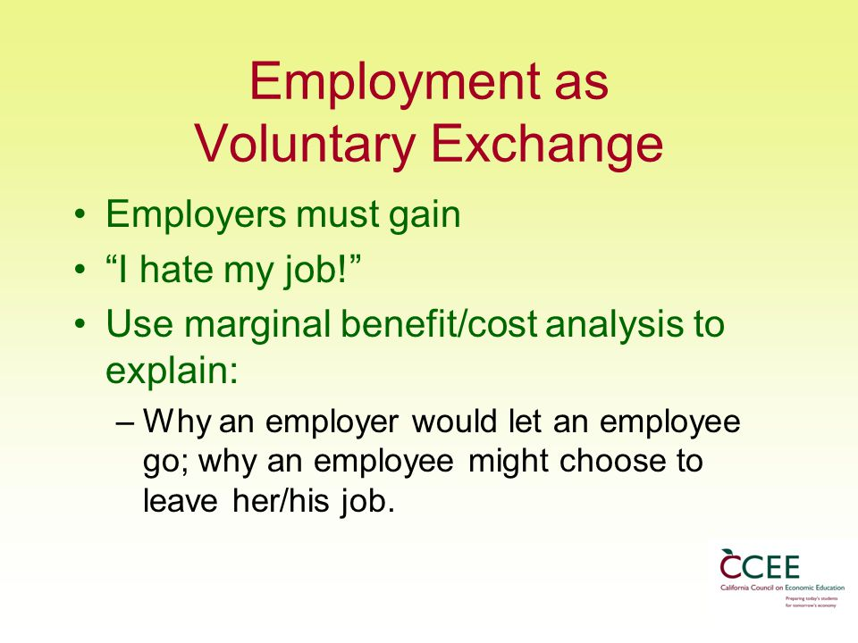 Employment as Voluntary Exchange