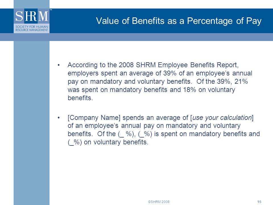 Value of Benefits as a Percentage of Pay