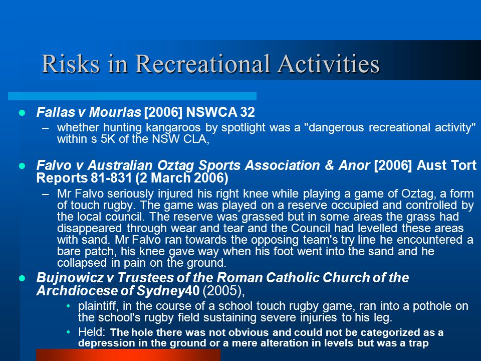 Risks in Recreational Activities
