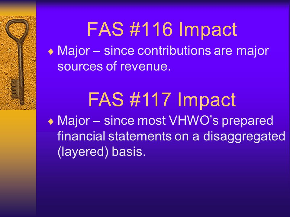 FAS #116 Impact FAS #117 Impact