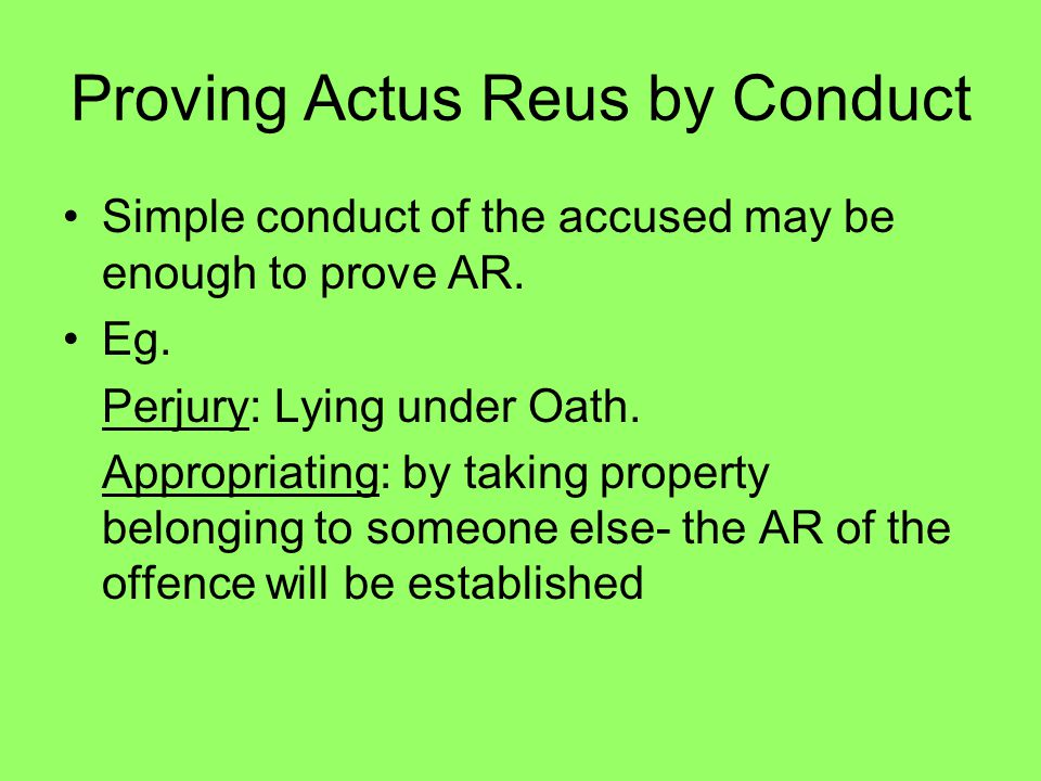 Proving Actus Reus by Conduct