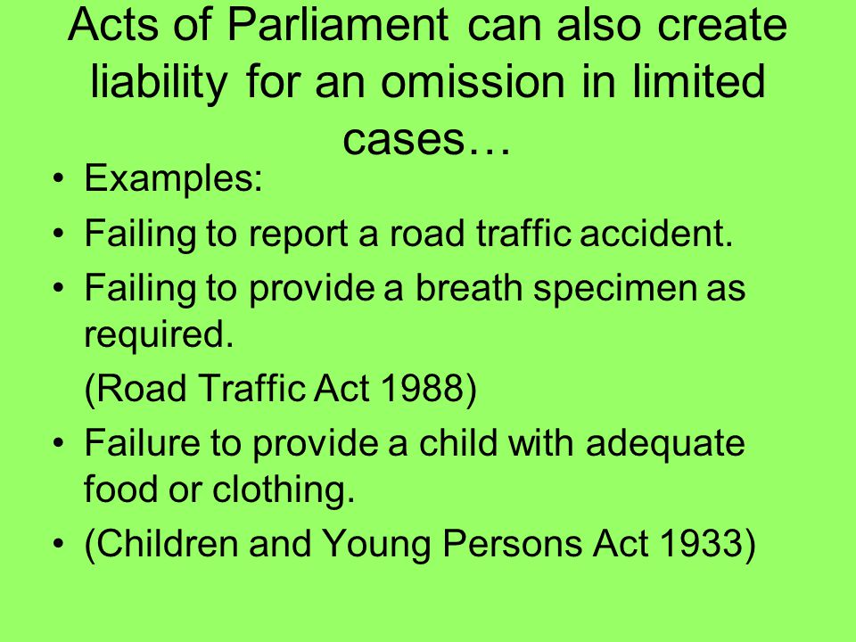 Acts of Parliament can also create liability for an omission in limited cases…