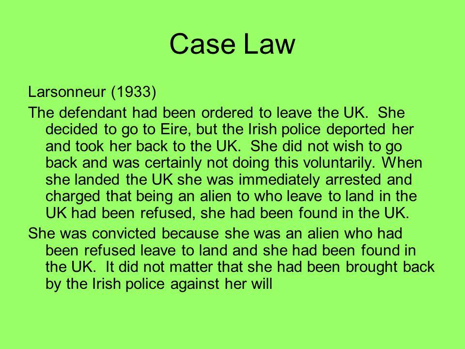 Case Law Larsonneur (1933)