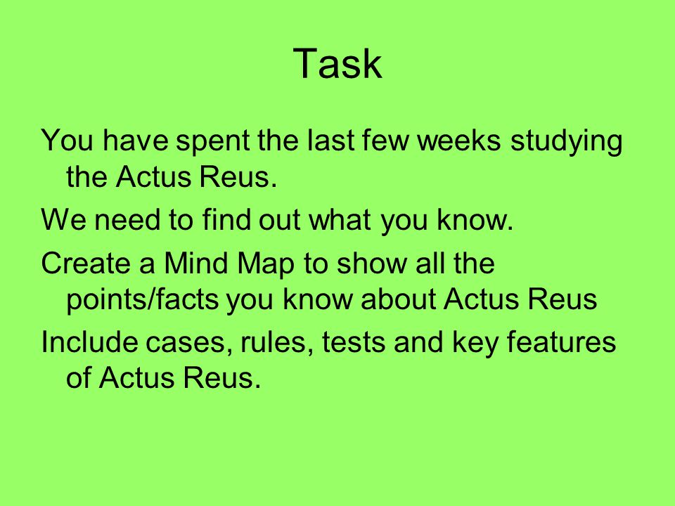 Task You have spent the last few weeks studying the Actus Reus.