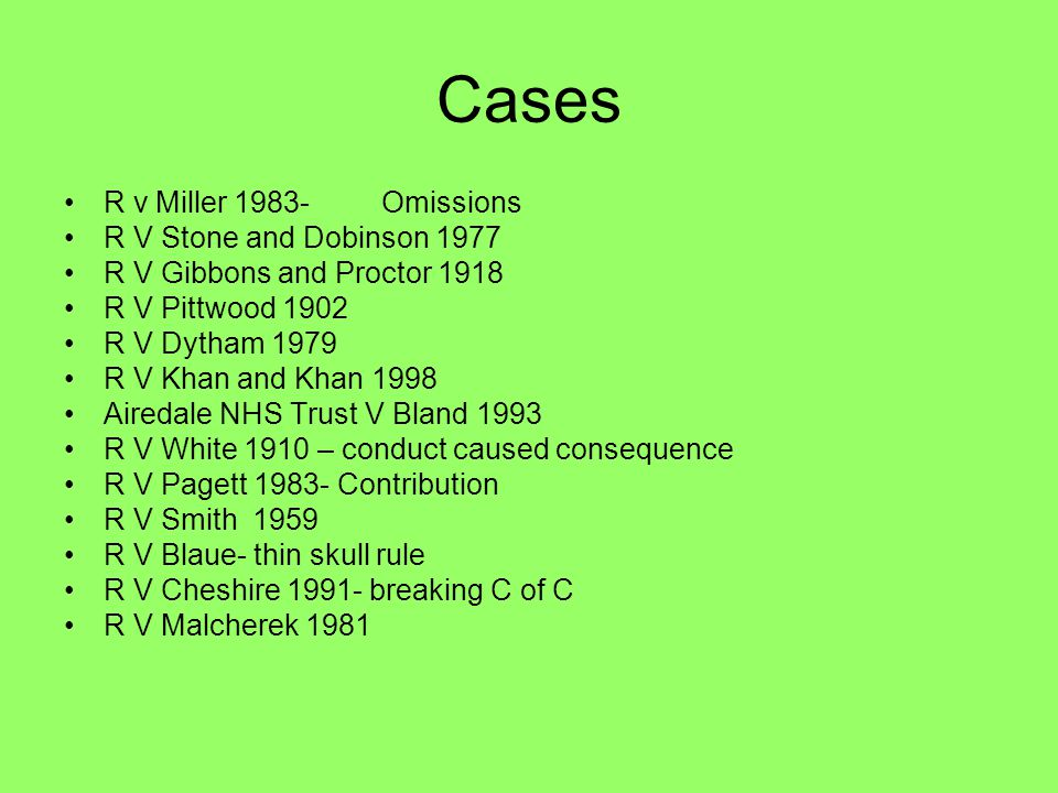 Cases R v Miller 1983- Omissions R V Stone and Dobinson 1977
