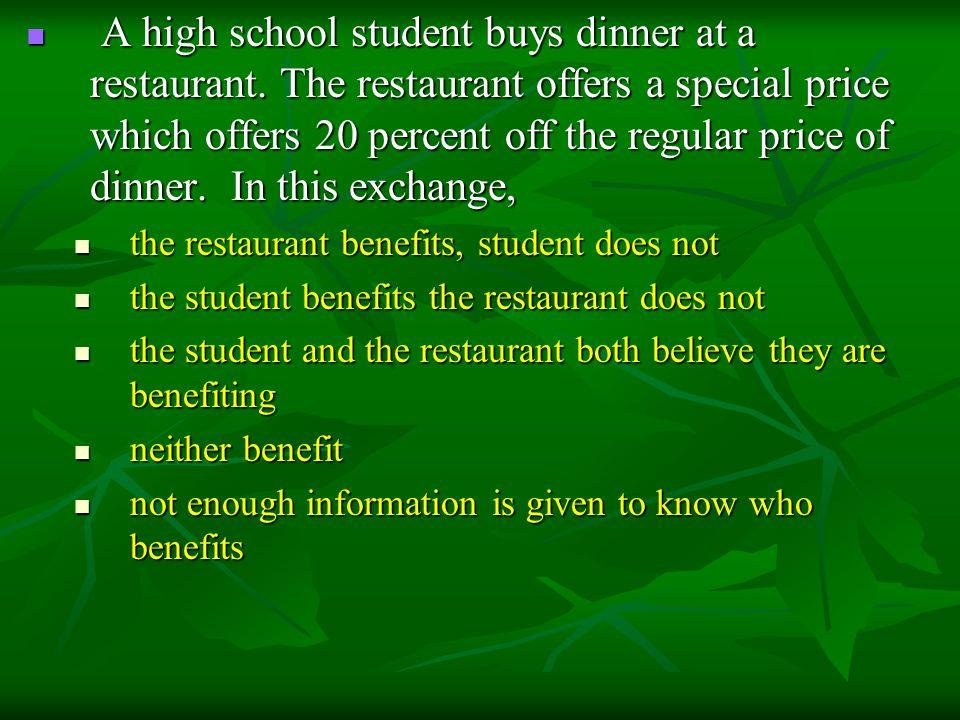 A high school student buys dinner at a restaurant