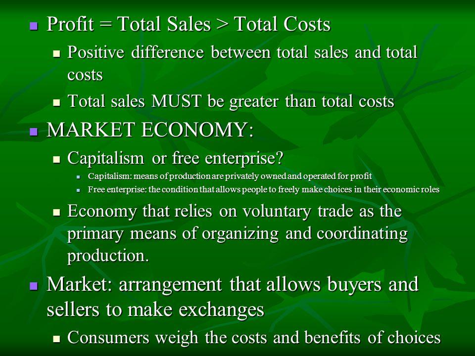 Profit = Total Sales > Total Costs