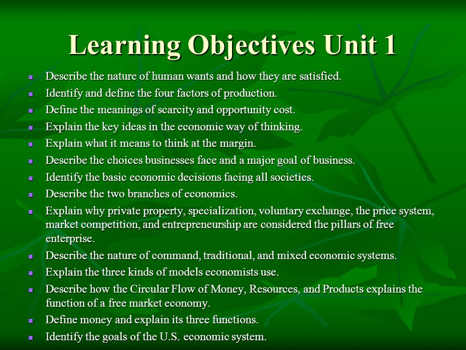 Learning Objectives Unit 1
