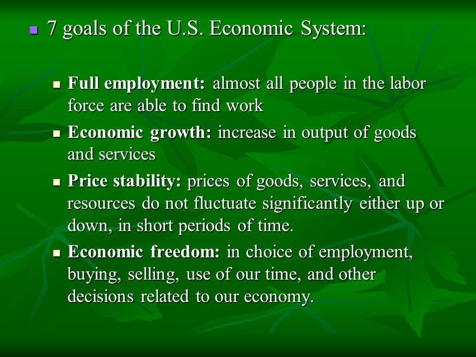 7 goals of the U.S. Economic System: