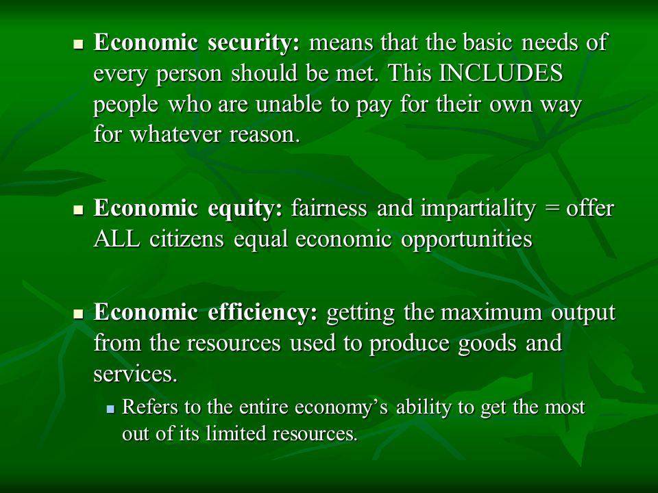 Economic security: means that the basic needs of every person should be met. This INCLUDES people who are unable to pay for their own way for whatever reason.