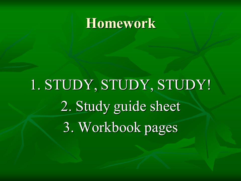 Homework 1. STUDY, STUDY, STUDY! 2. Study guide sheet 3. Workbook pages