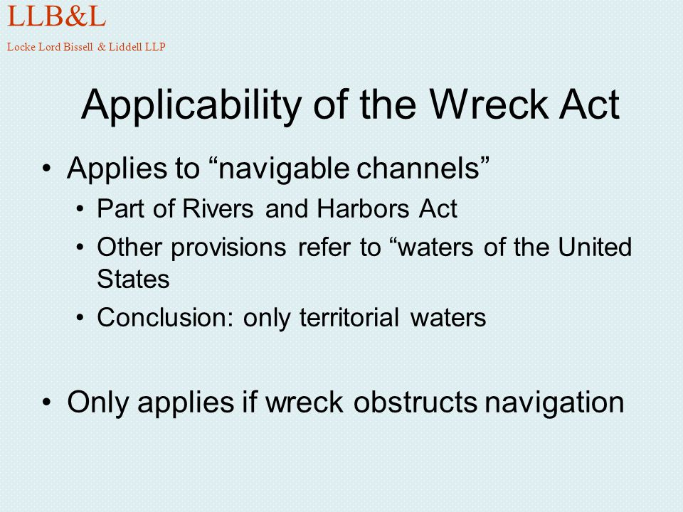Applicability of the Wreck Act