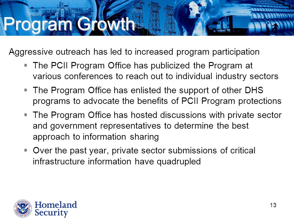 Program Growth Aggressive outreach has led to increased program participation.