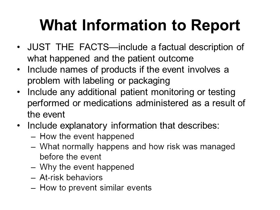 What Information to Report