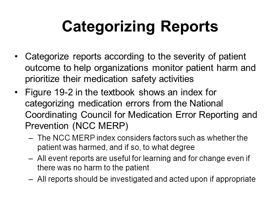Categorizing Reports